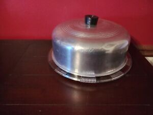 Vintage ~ Sharon Cabbage Rose Depression Glass Cake Plate Clear Footed ~ w/Cover