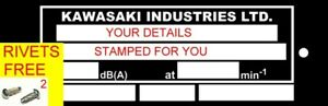 KAWASAKI ID STAMPED FOR YOU SCOOTER BIKE FRAME ID VIN-CHASSIS-PLATES FREE RIVETS