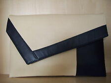 OVER SIZED NAVY BLUE & CREAM faux leather clutch bag. Made in the UK