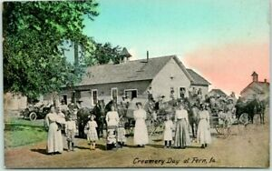 "Vintage 1910s FERN, Iowa Postcard ""Creamery Day at Fern"" Farmers Horse Wagons"