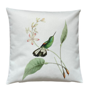 *SALE* Hummingbird - 40cm Ivory cushion cover botanical/bird/tropical