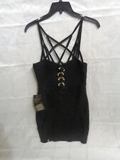 // Bebe Fierce Edena Metal Bar Bandage Black Women's Dress Size M Medium