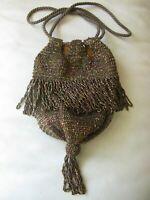Antique Art Deco Iridescent Copper Brown Bead Fringe Tassel Drawstring Purse