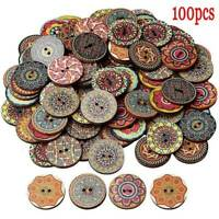 100Pcs/lot Wooden Buttons 2 Holes Flower Sewing Scrapbooking DIY Craft 20/25mm