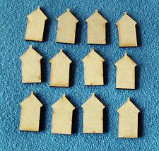 12 x Wooden MDF mini Beach Huts 3.5cm x 2.2cm x 3mm thick Craft shapes blanks