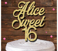 SWEET 16 NAME GLITTER CAKE TOPPER BIRTHDAY PARTY gold 16TH Sixteenth