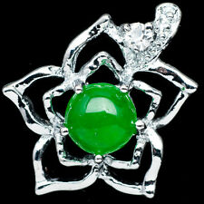 Chinese Emerald Green Jade Jadeite 18K White Gold Plated Flower Pendant #004