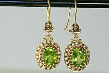 VICTORIAN REVIVAL 14K GOLD PERIDOT SEED PEARL DANGLING EARRINGS