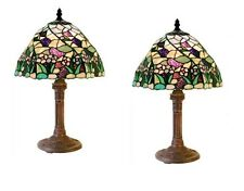 Stained Glass Tiffany Style Lamp Set of Two 2 Lamps Table Light Purple Green