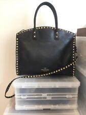 Valentino rockstud dome satchel black big tote handbag bag zip shoulder strap
