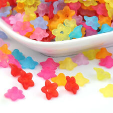 200Pcs Mixed Transparent Flower Frosted Acrylic Petunia Beads 9x4.5mm Hole 1.5mm