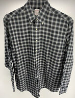 Men's Brooks Brothers 346 Plaid Button Down Shirt Navy Blue Size L EUC