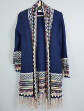 HQ | Womens Knitted Blue Cardigan w/ Tassels  [ S / M or AU 10 - 12 / US 6 - 8 ]