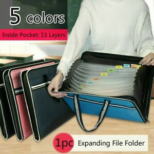 Expanding File Folder Organizer Documents Bags A4 Paper Holder 13 Pockets Green