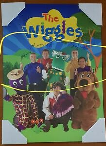 original lineup of The Wiggles - signed / autographed authentic, mounted poster