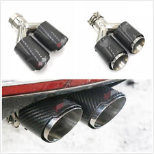 1 Pcs 76-101mm Steel+Real Carbon Fiber Car Dual Outlet Exhaust Muffler End Pipe