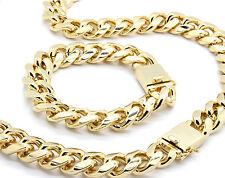 Mens 18mm 14k Gold Plated Heavy Thick Cut Hip Hop Bracelet & Necklace Cuban