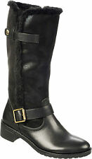 Naturalizer Maddox Black Faux Leather Faux Fur Trim Buckle Mid Calf Boots 7.5 M