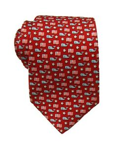 Vineyard Vines Boys Red Whale & Flags Graphic Print Silk Tie