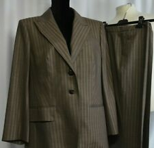 Escada Sz 44/12-14 US 2 Piece Pant Blazer Suit Set Brown Striped Business Career