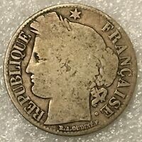 1872 K  France 🇫🇷 3rd Republic Rare 50 Centimes silver Coin, free combined S/H