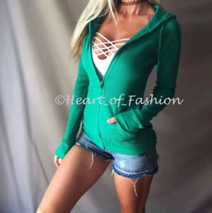 Women's Basic Thermal Waffle Zip Light Hoodie Kangaroo Pocket Sweatshirt Top