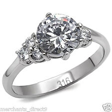 Steel Engagement Ring, Choose Size Women's Silver Cubic Zirconia Stainless