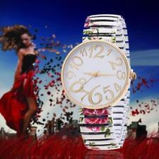 Fashion Lady Watches for Geneva Stretch Band Flower Dial Floral Printed White MT