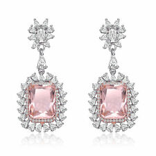 Rozzato Sterling Silver Morganite Cushion with Clear CZ Halo Drop Earrings