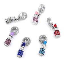 10x Mixed Color Crystal Lipstick Beads Charm Pendant Fit European Bracelet Make