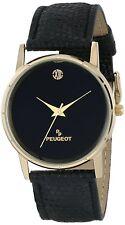 Peugeot Men's 14K Plated Analog Display Japanese Quartz Black Watch 2043BK