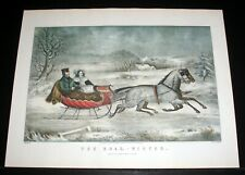 "OLD 1960'S CURRIER & IVES LITHO PRINT, ""THE ROAD - WINTER"" ORIGINAL 1853!"