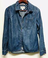 Feed Denim Distressed Denim Button Up Shirt Top medium
