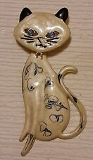 Vintage Rhinestone & Enamel Siamese Cat Kitty Dangle Brooch Pin