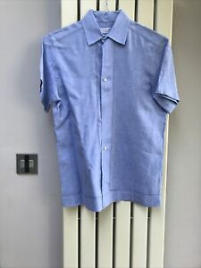Nigel Hall Mens Pure Linen Blue Short Sleeve Shirt Size Small New