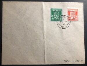 1942 Guernsey England Blue banknote paper N4 Cover Domestic Used
