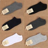 5 PACK MENS LOW CUT BLACK WHITE SPORTS ANKLE GYM MEN'S RUNNING CUSHIONED SOCKS