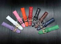 12 - 22 MM Watch Band Strap Genuine Leather Alligator Clasp Fits For Rolex USA