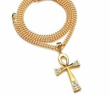 Gold Plated Egyptian Ankh Key Of Life Cross Pendant Amulet 70cm Chain Necklace