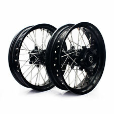 "Suzuki DR650 1996-2016 Supermoto Wheels set 17"" Supermotard Black"