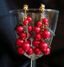 Vintage Red Cherry grape leafs Earrings Dangle Pierced Jewelry Fashion Goldtone