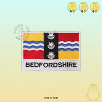 BEDFORDSHIRE County Flag With Name Embroidered Iron On Sew On Patch Badge