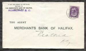 p655 - ROSSLAND BC 1899 Bank of Halifax Cover to Victoria. 2c QV Numeral ✉