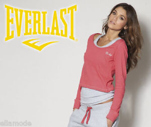 Everlast Pink Grey Two Layer Long Sleeve Fitness Training Vest Top XL UK 16 BNWT