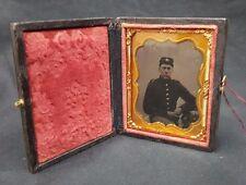 Authentic Civil War Union Soldier Tin Type Picture & Patriotic Decorative Case