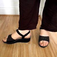 Women Diamante VeraPelle Light LEATHER Buckle Wedge Mule Sandal Shoe Size