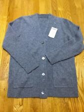 Men 100% Cashmere Cardigan Grey Size Medium