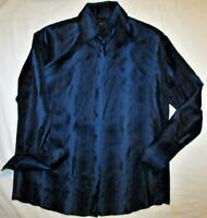 Vtg Genuine Gucci Silk Shirt Blouse Size 46 Shimmery Indigo Blue & Black Striped