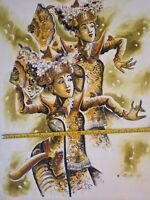 No 2001 original colorful painting, Balinese dancers, 3 pics,  23 x 31 inch