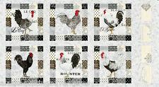 "MODA Fabric Quilt Panel ~ EL GALLO ~ by Deb Strain  (19690 11) Ivory 24"" X 45"""
